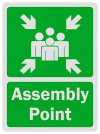 assembly point sign for evacuation
